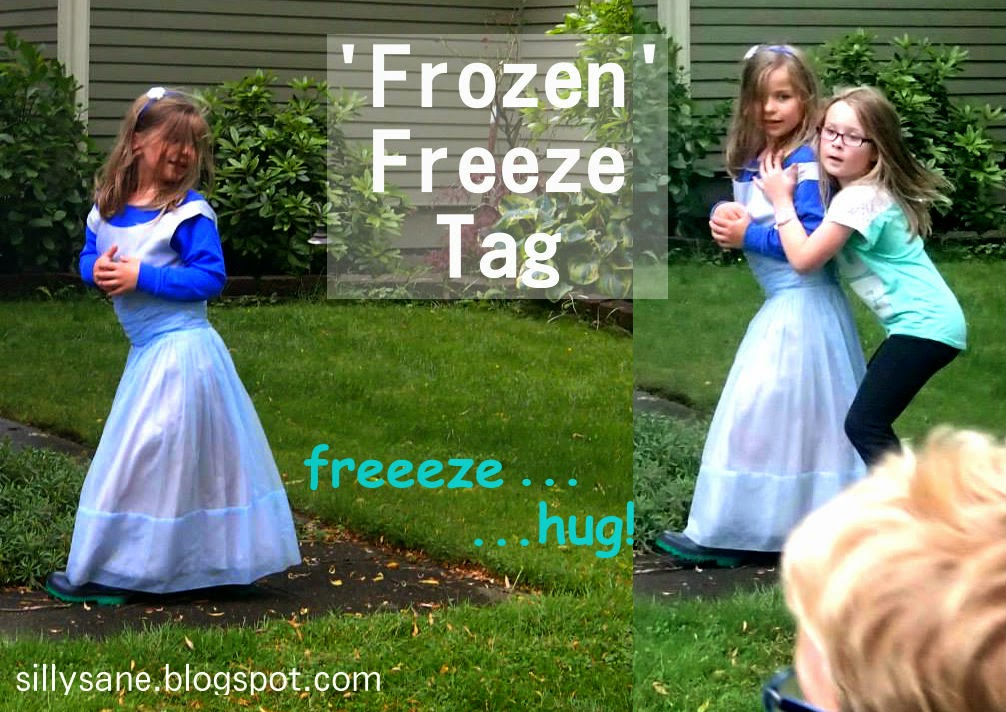"""Frozen"" birthday party game freeze tag"