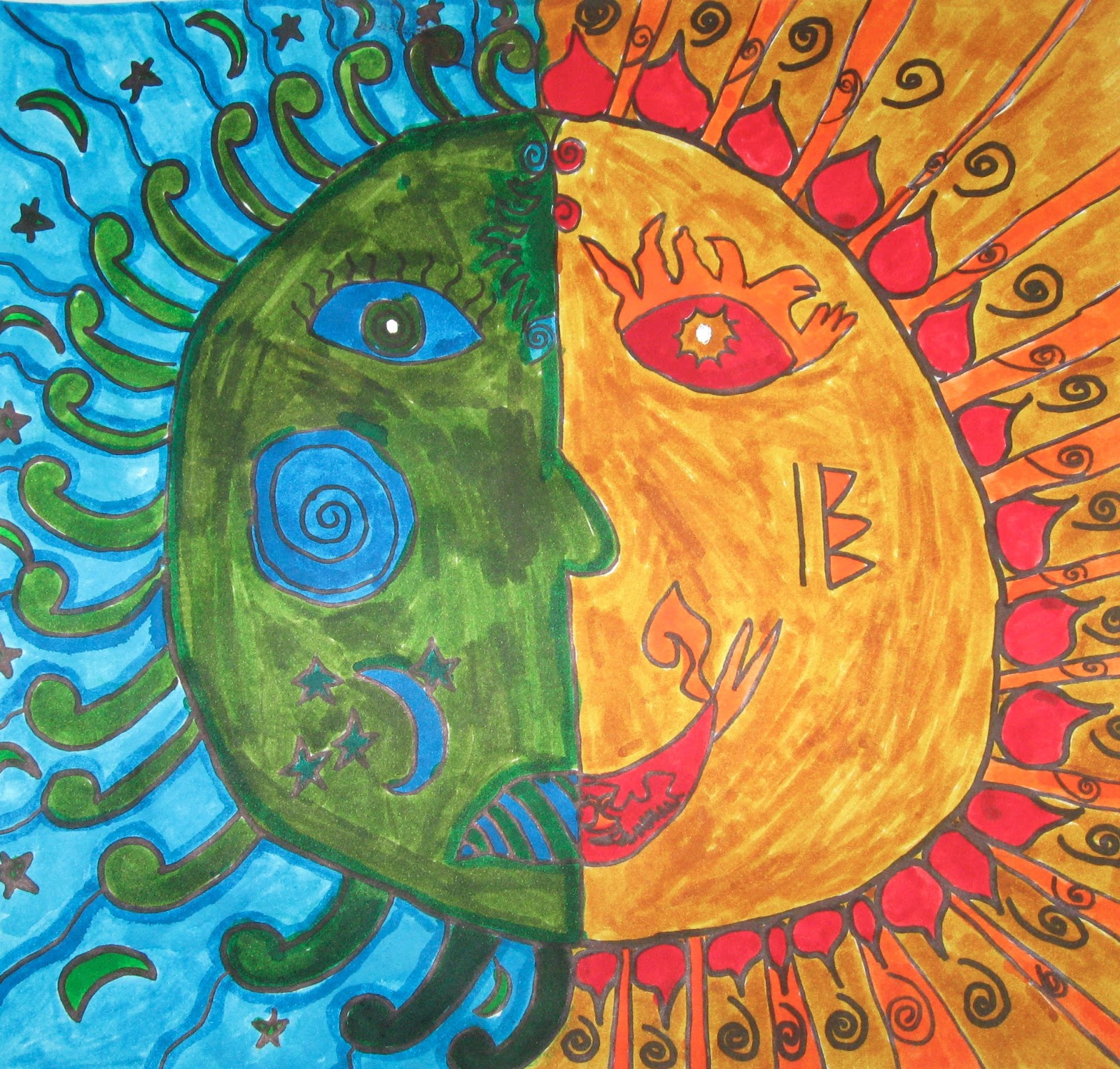 Art with Keryn: Warm sun and cool moon