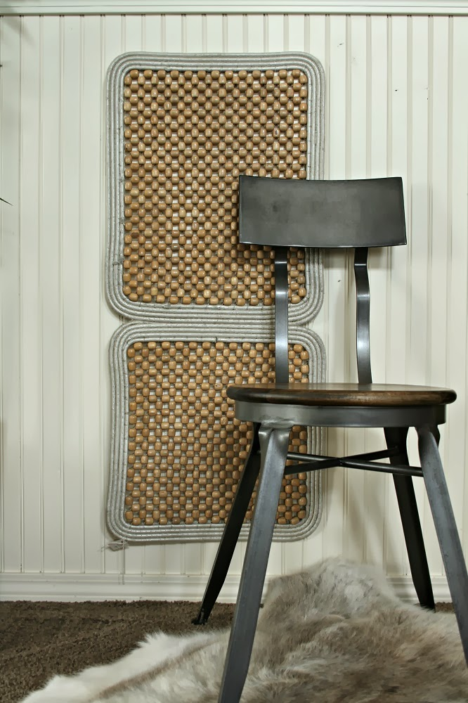 Wood bead seat cover wall art, wood bead wall art, repurposed seat cover, wood beads, industrial chic