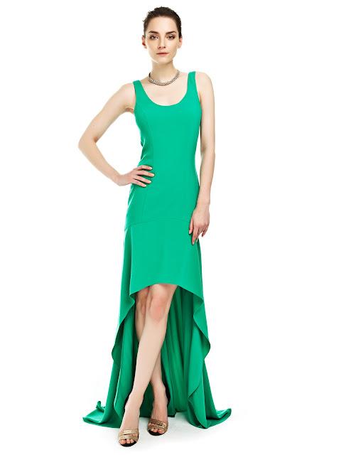 yeşil elbise, önü kısa arkası uzun elbise, uzun elbise, gece elbisesi, yazlık elbise, tek renk elbise