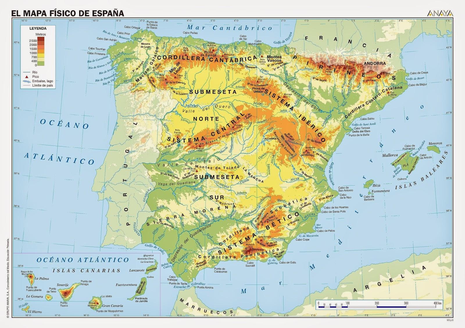 MAPAS DO MUNDO EN GALEGO MAPA FSICO DE ESPAA
