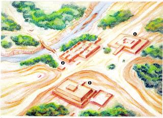 1:Huaca, hoy Catedral. 2:Palacio de Taulichusco, hoy Palacio de Gobierno. 3:Huaca hoy Municipalidad