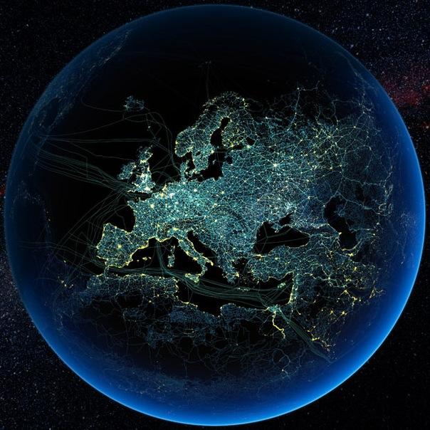 Ночные виды земли из космоса мне очень