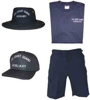USCG Auxiliary Ball Cap, Tlley Hat, T-Shirt, and ODU Shorts