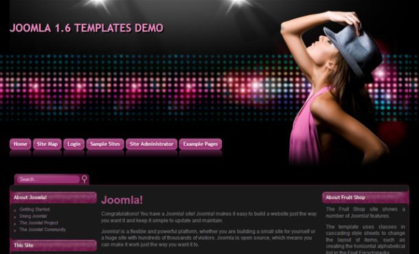 Free Dark Black Sexy Music Joomla Template