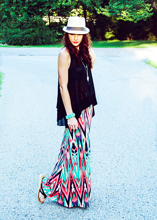 Le Tote multi-color maxi sheer fedora style outfit