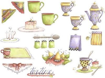dibujos con pasteles, tazas de té