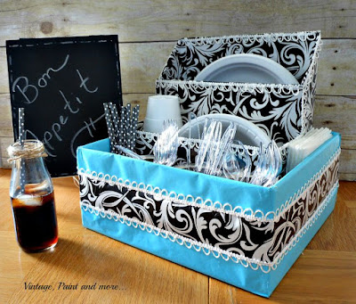 Vintage Paint and more... paper dish storage diy'd from old boxes, tin cans and wrapping paper
