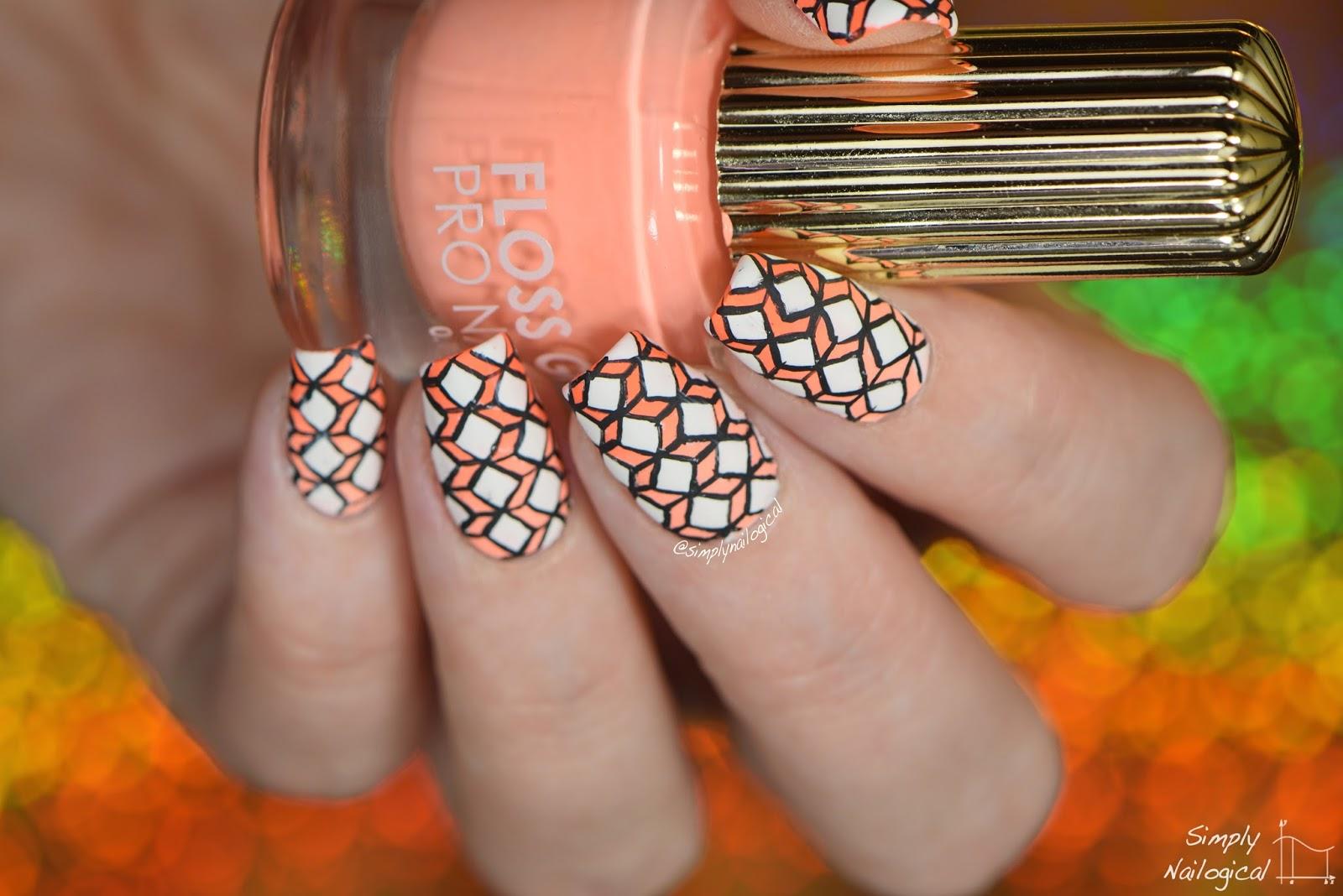 Simply Nailogical: Intricate diamond geometric design