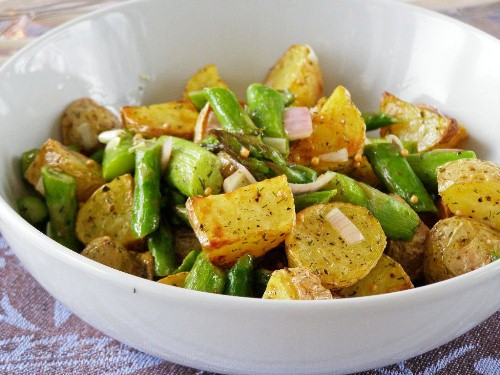 Warm Salad of Roasted New Potatoes, Sautéed Asparagus and Shallots in a Mustard-Dill Vinaigrette