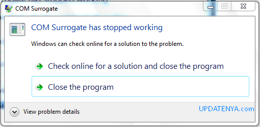 COM Surrogate has Stopped Working di Windows 7