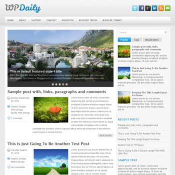 WpDaily blog template. patter background blogger template. magazine style template blogspot. free blogspot template