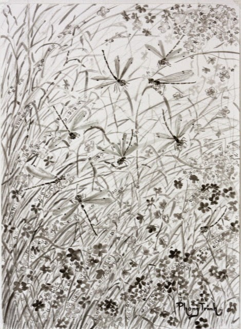 Black and white watercolor painting nature, plants and insects, 29.5x42cm