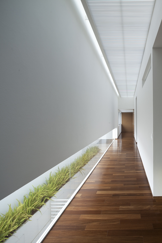 Modern white hallway with windows on the floor