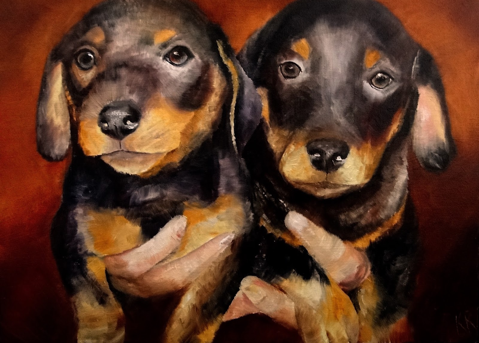 oil painting of dachshund puppies, how to paint puppies, a pet portrait by Karen, animal artist in Devon