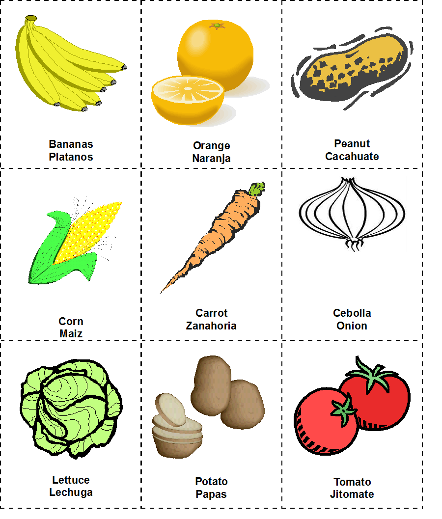 vocabulario fruta espanol e ingles: