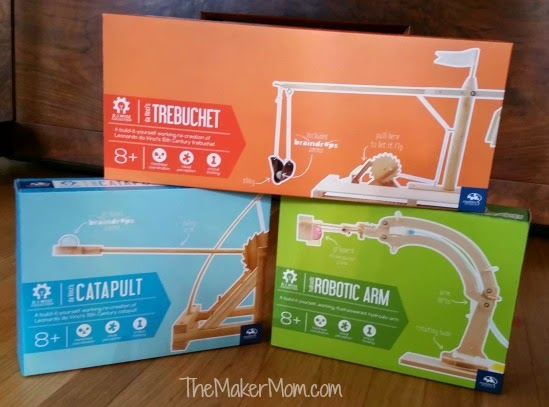 Marbles the Brain Store kits for trebuchet, catapult and a robotic arm