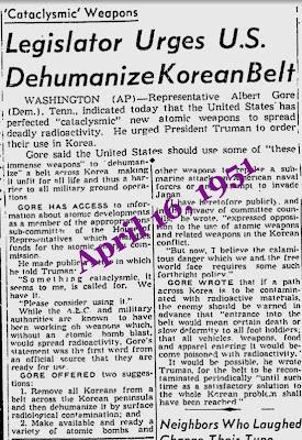 Urges U.S. Dehumanize Koean Belt - Al Gore Sr.,  1951