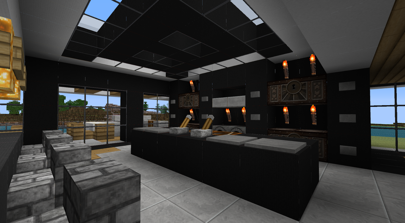 Minecraft interior design for Minecraft living room designs