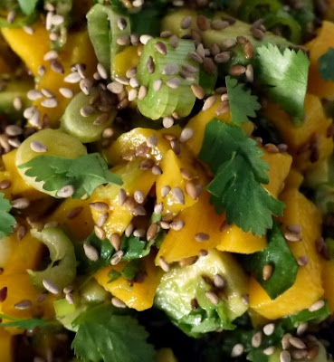 Mango and avocado salad with toasted sesame seeds