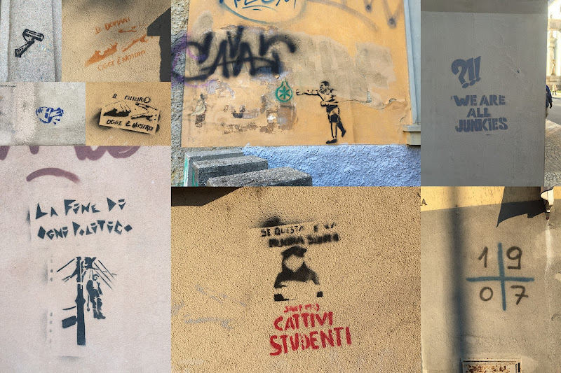 A collage of different street art stencils in Bergamo, Italy.