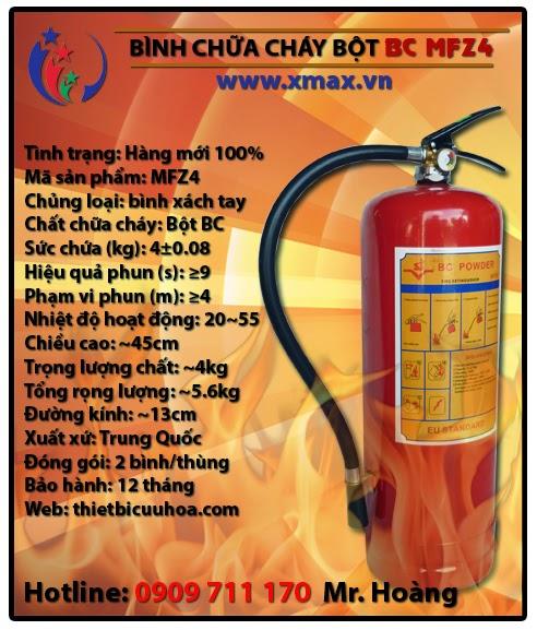 Bình chữa cháy bột BC MFZ4 4kg loại xách tay