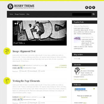 Busby Blogger Template. 4 column footer blogger template. 4 column blogger template