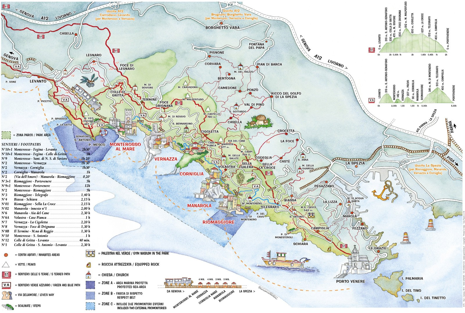 Cinque Terre detailed map - harta detaliata