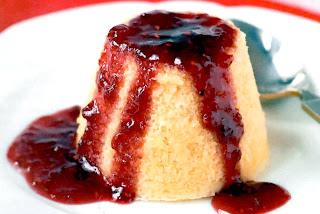 Strawberry Sponge Pudding: Classic individual baked sponge pudding topped with strawberry jam