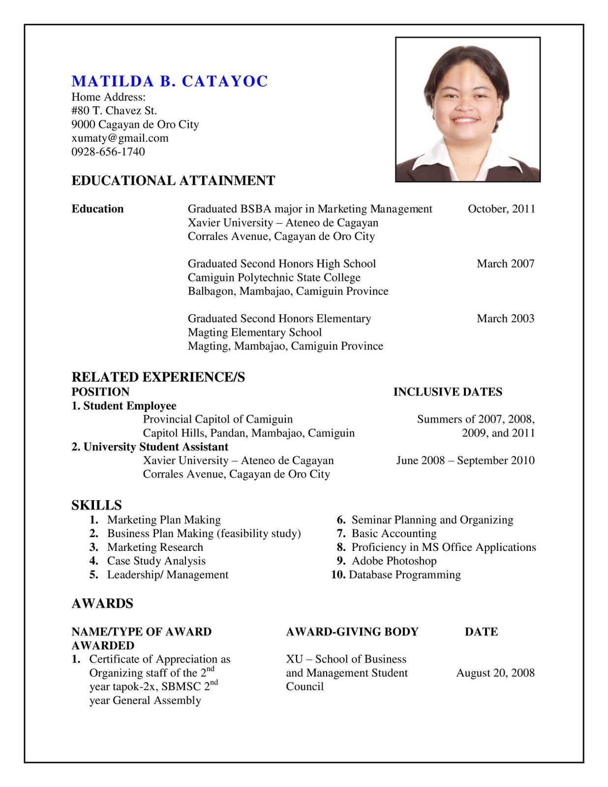 create a resume for me