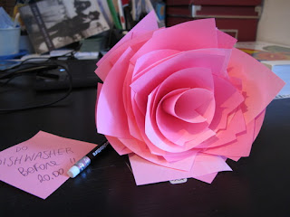 rosa feita com post-it