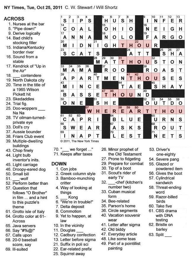 10.25.11 u2014 Where Art THOU?  sc 1 st  The New York Times Crossword in Gothic : squirrel away crossword - 25forcollege.com
