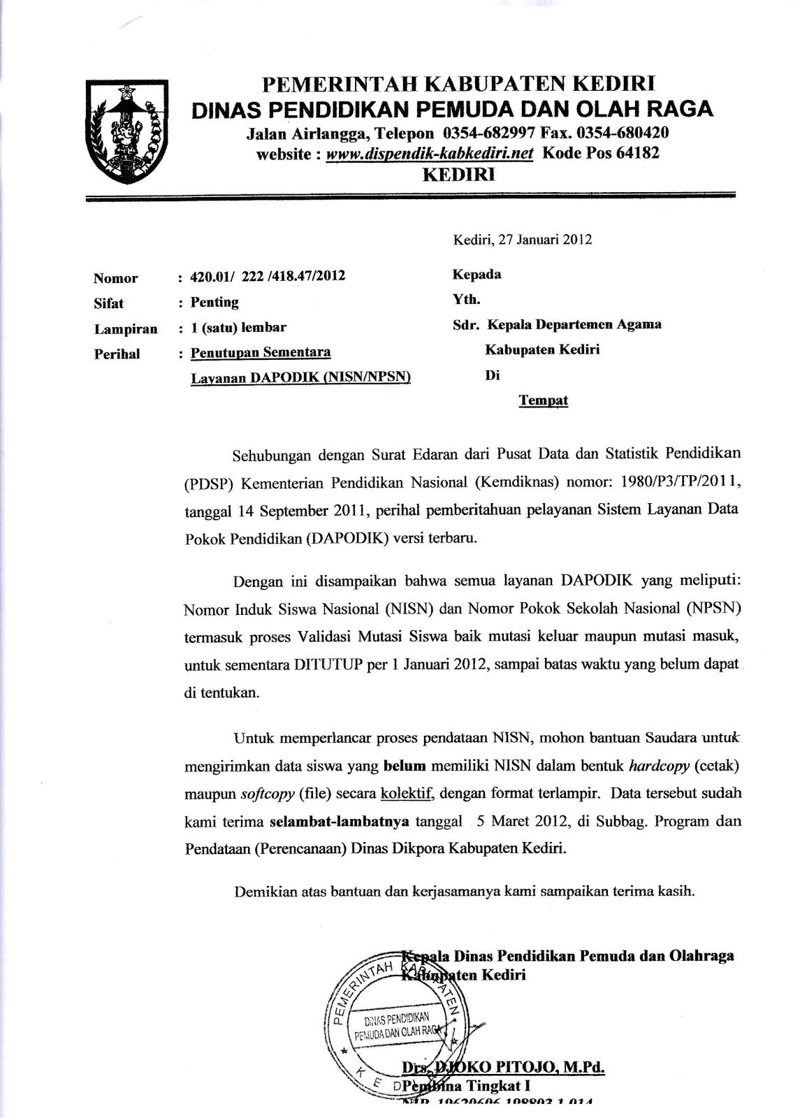 Peduli Madrasah Indonesia Surat Edaran Tentang Nisn Dari Disdikpora
