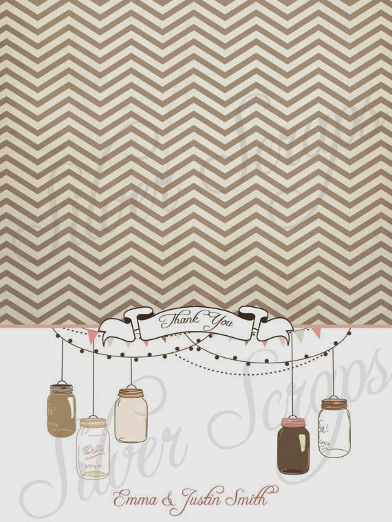 brown chevron vintage hanging mason jars with twinkling lights and bunting