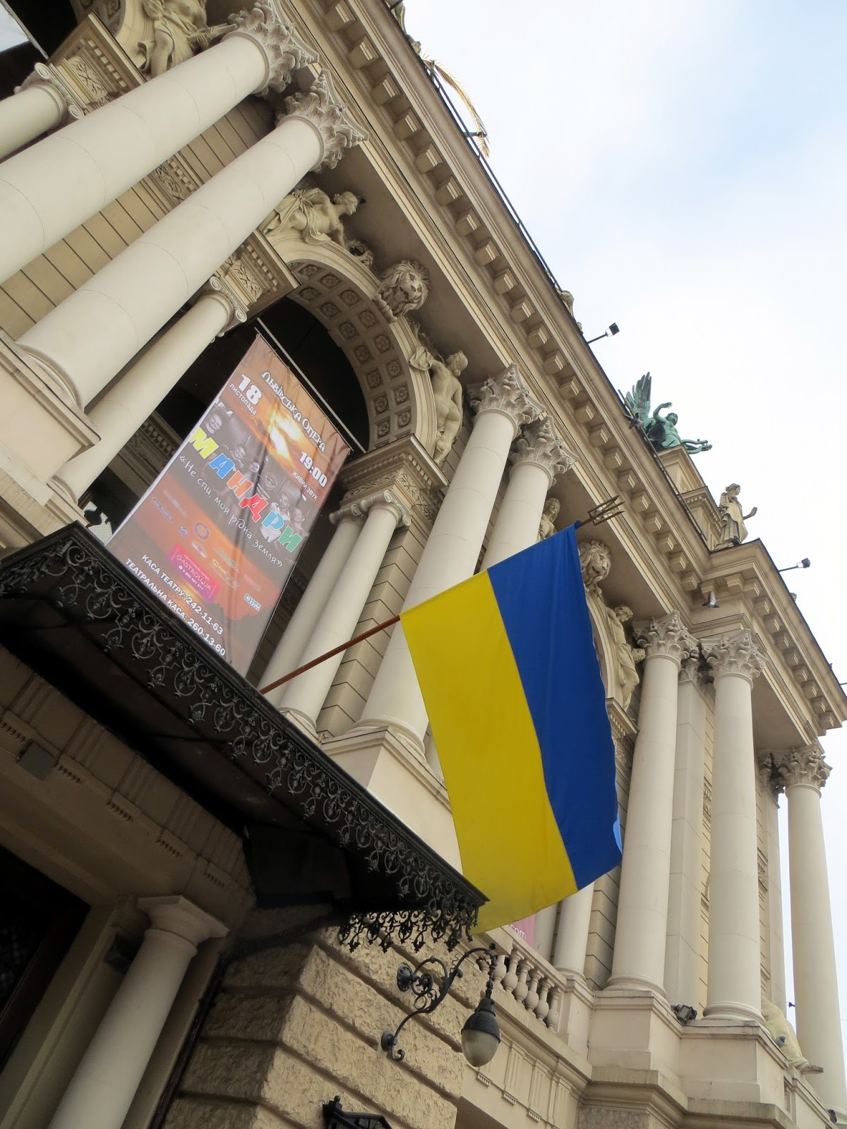 lviv opera house, ukriane, eastern Europe, flag