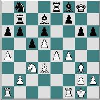 Partida de ajedrez Ulvestad – Frank, 1971, despues de 20... Ad7!