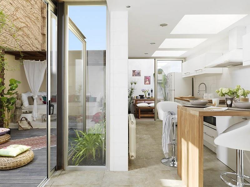 Doos interiorismo 75m loft 35m terraza en barcelona for Cocina salon espacio abierto