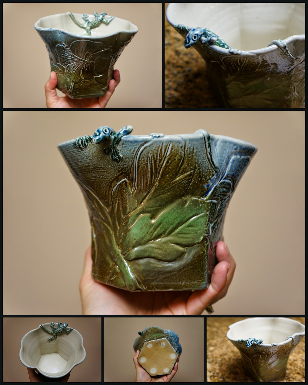 Beautiful handmade ceramic vase featuring a hibiscus carving and peeking lizard, by Sharon Reay in collaboration with Linda Doherty.