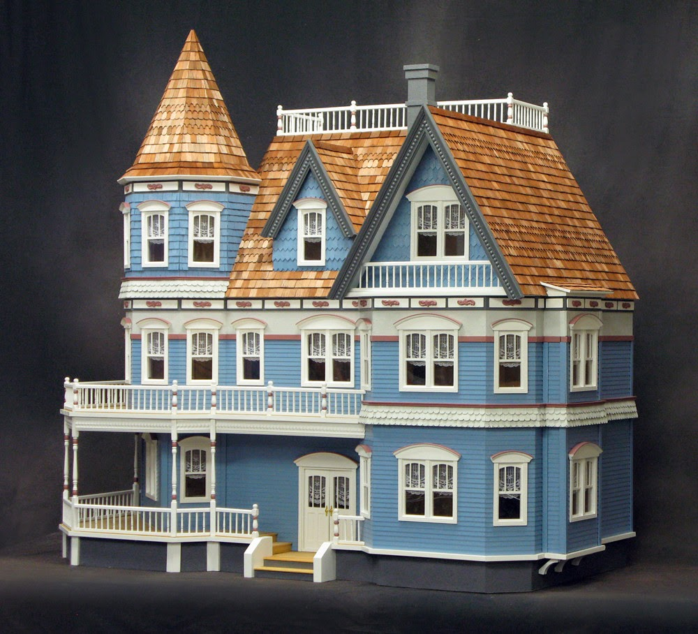 Little darlings dollhouses queen anne for Victorian kit homes