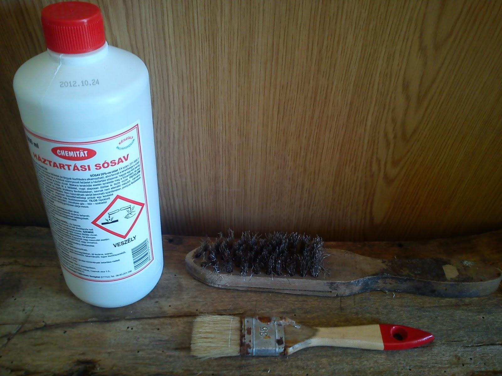 Tégla tisztítása sósavval