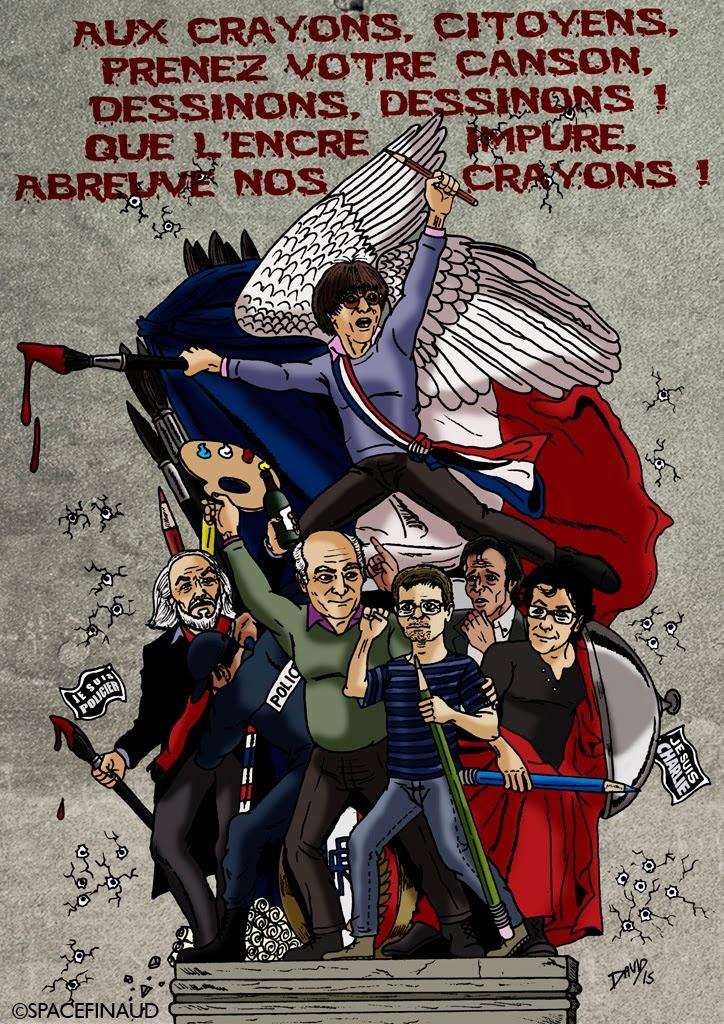 J'ai réalisé ce dessin à la mémoire des victimes de la fusillade au siège de Charlie Hebdo, le 7 janvier dernier.  Parmi les 12 victimes, on compte les cinq dessinateurs : Cabu, Charb, Wolinski, Tignous et Honoré. Ainsi que l'économiste Bernard Maris. Sans oublier les autres victimes, dont deux policiers que je tenais aussi à rendre hommage, tués dans l'exercice de leurs fonctions. Ainsi qu'à la policière municipale abattue à Montrouge. Ce dessin rend surtout hommage à la liberté d'expression en france. Nous ne les oublierons jamais.