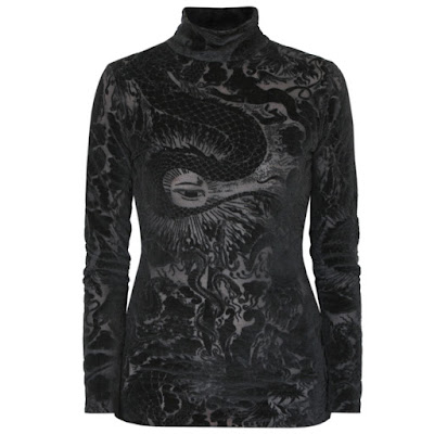 jean-paul gaultier velvet mesh dragon tattoo mockneck shirt