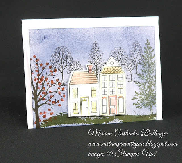 Miriam Castanho Bollinger, #mstampinwithyou, stampi up, demonstrator, dsc, new home card, lovely as a tree, sheltering tree stamp set, holiday home bundle, big shot, su
