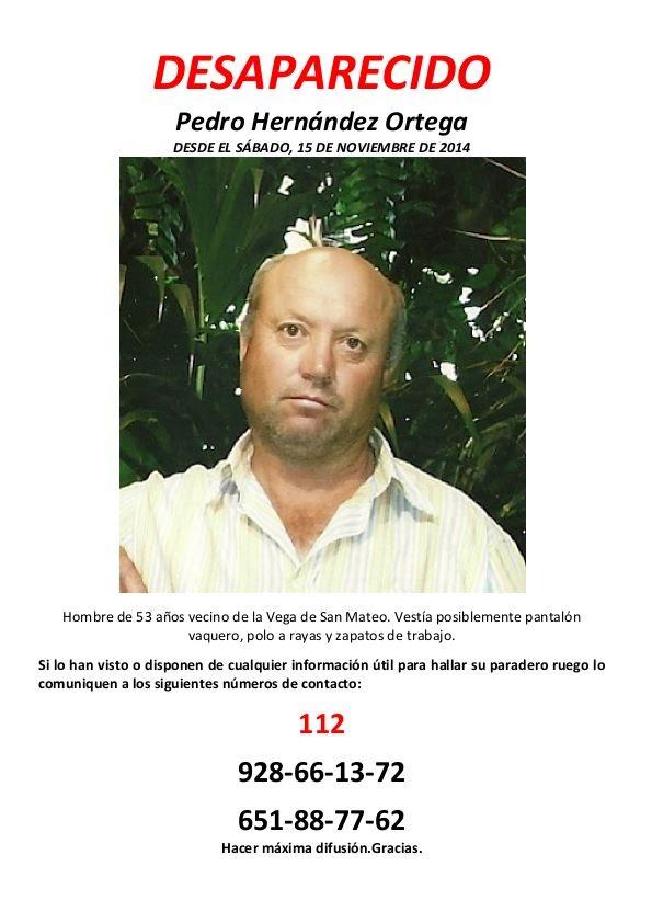 DESPARECIDO:PEDRO HERNANDEZ ORTEGA, VECINO DE SAN MATEO