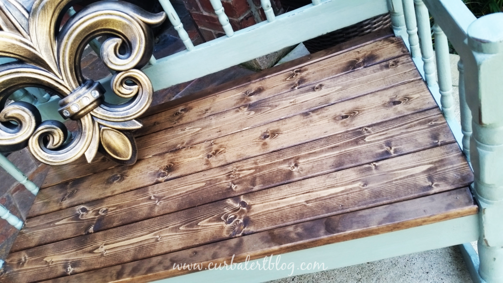 Repurposed Headboard Bench Minwax Special Walnut Stain