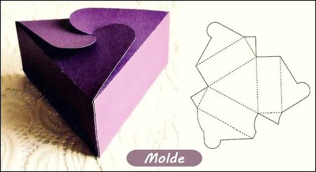 modelo de caixa de papel triângulo