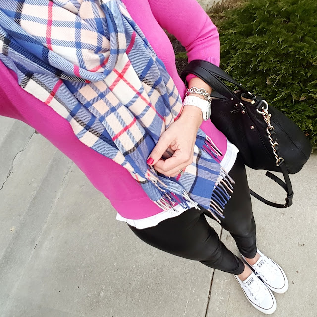 Banana Republic Factory Sweater (similar) // Gap Scarf (this year's version) // Hue Faux Leather Leggings // Converse Tennis Shoes // Kate Spade Pine Street Small Kori // Fossil Watch (similar under $50 - 80% off!) // Saks Off Fifth Link Bracelet - only $10, regular $25!