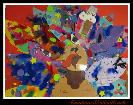 photo of: Preschool Thanksgiving Turkey Feather Bulletin Board @ PreK+K Sharing