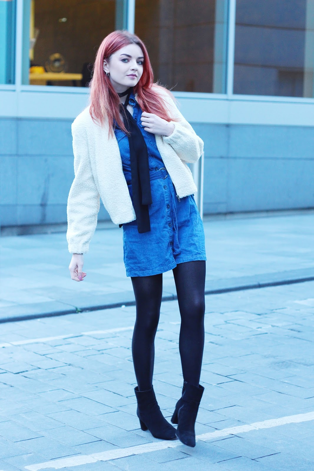 denim dress shearling bomber jacket