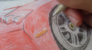 draw ferrari enzo ink process